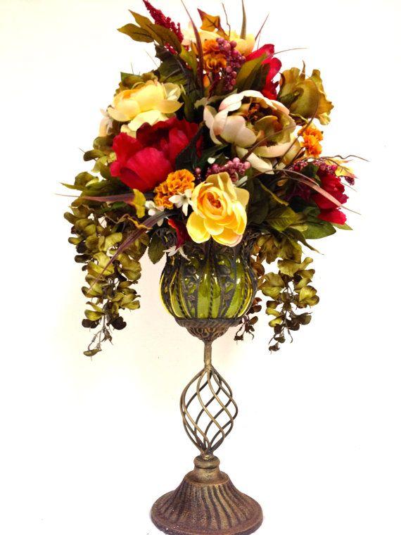 163 best floral arrangements images on pinterest large fall silk floral arrangement yellow sage green raspberry red cream 24 mightylinksfo
