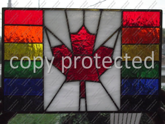 Canadian Pride Flag stained glass