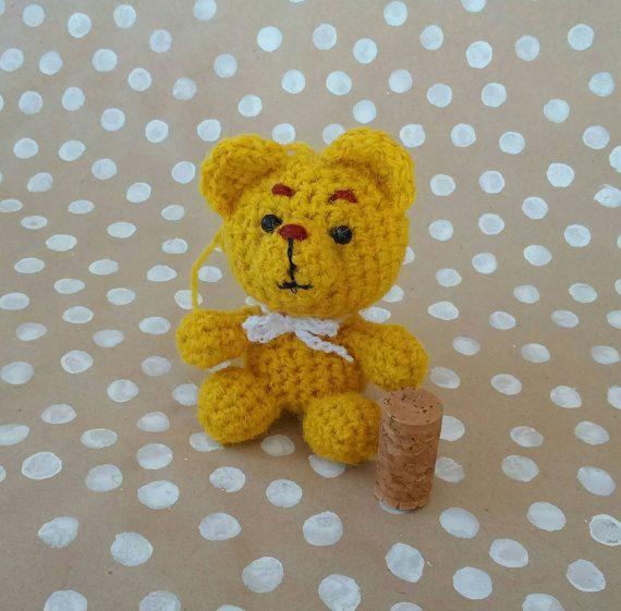 Bear amigurumi yellow   knitted toy teddy soft by CuteGiftStudio