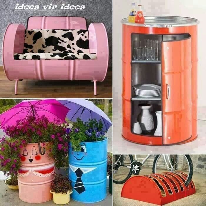 Drum as bisycle stand .... dog bed.. and cupboard to use at braai area