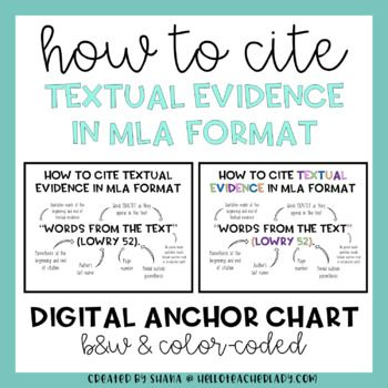FREE The basics of citing textual evidence in their literary writing with this digital anchor chart.