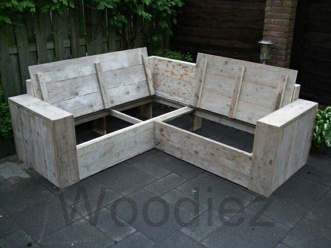 Loungebank steigerhout met opbergruimte garden for Loungebank steigerhout