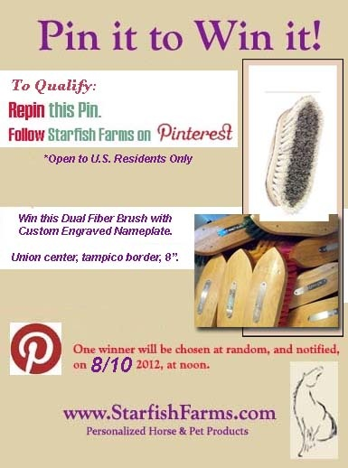 "Win this 8"" Dual Fiber grooming brush, with custom engraved nameplate in silver or brass. Winner to be drawn at noon, on Friday, 8/10/12. See photo here, for rules. If you're not yet a Pinner, drop me a message for an instant invitation! http://www.starfishfarms.com/horse/brushes/index.html#dual"