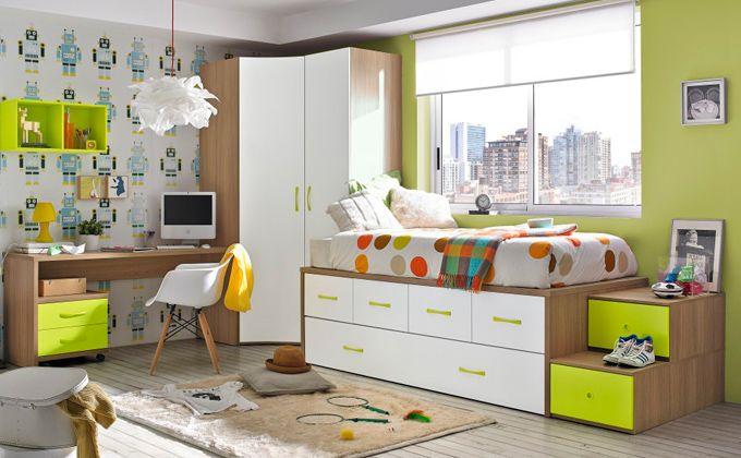 Dormitorio juvenil  con compacto y escritorio.