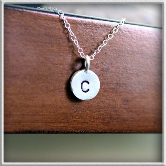 hand stamped initial charm necklace-personalized initial necklace-monogram necklace