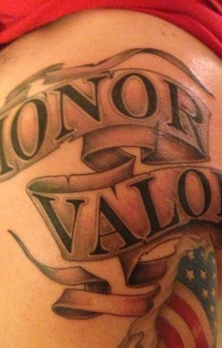 """The words """"honor"""" and """"valor"""" appear on scrolls above an American flag. - www.policemag.com - #police"""