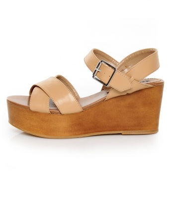 Loving these platform wedges - I think they would be more tolerable than heels, right?   Bonnibel Elmo Camel Platform Wedge Sandals