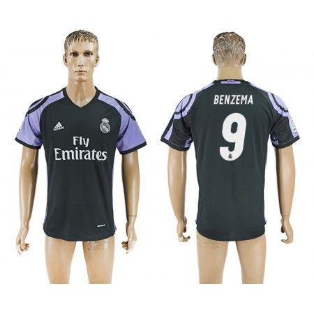 Real Madrid 16-17 Karim #Benzema 9 TRødje trøje Kort ærmer,208,58KR,shirtshopservice@gmail.com
