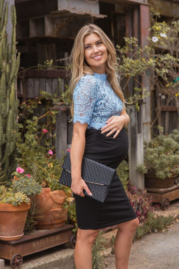 You won't find a maternity crop top like this anywhere else! A short sleeve lace crop top with a fringe detail on the neckline, sleeves, and hem for a fiercely feminine look you will love. Style this crop top with a high waisted chiffon maternity skirt for a gorgeous ensemble.