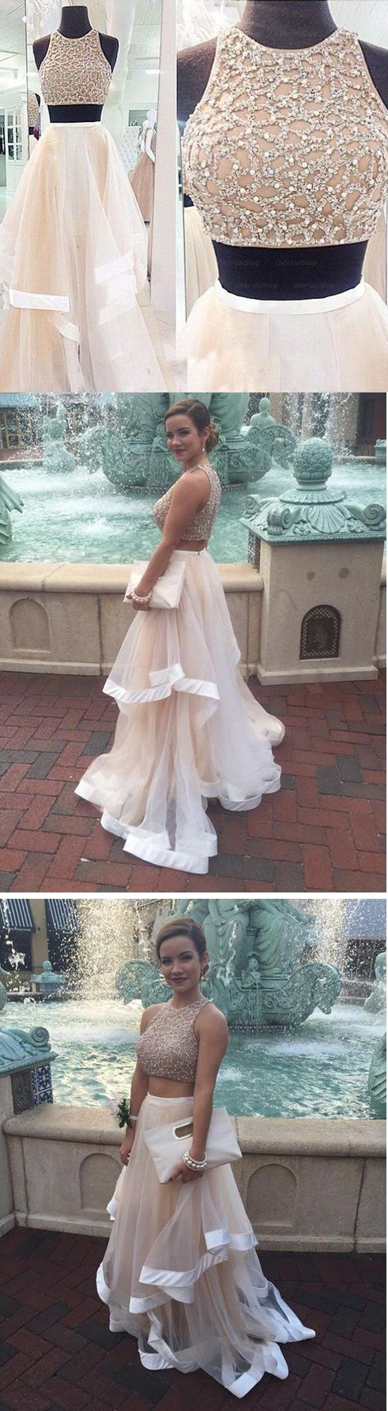 Two Pieces Prom Dresses,Two Pieces Tulle Graduation Dresses,Two pieces Beaded