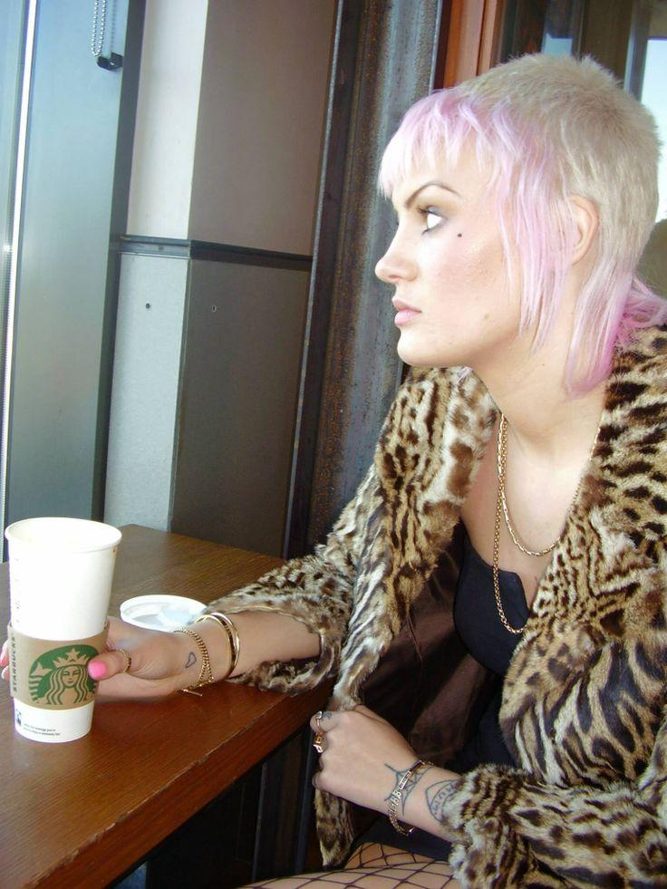 Starbucks ocelot fur jacket leopard punk skinhead pink hair pastel coffee alternative feather Chelsea cut skinbyrd