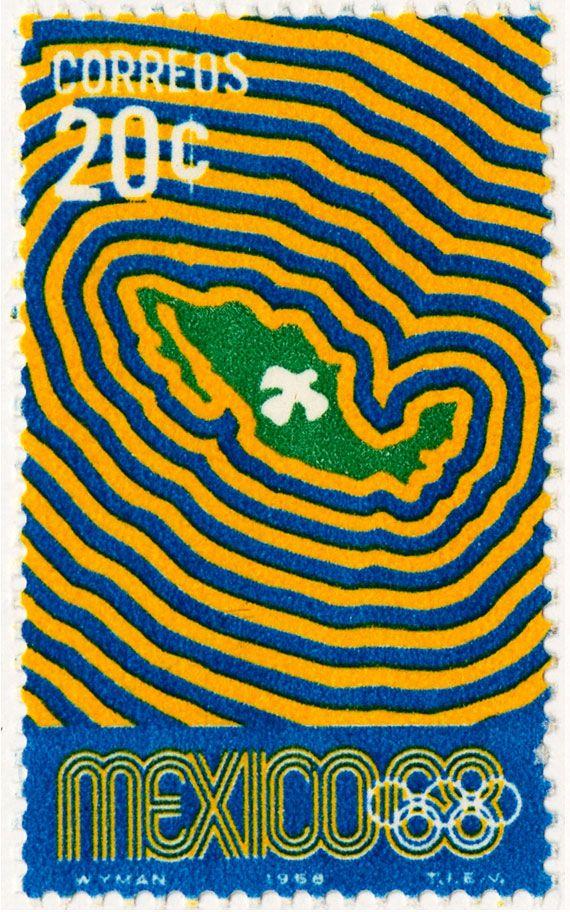 Estampilla Conmemorativa de 20 centavos para México 68.  Mexico 68 Postage Stamp.