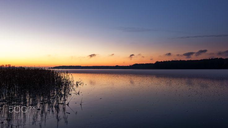 Frosty Morning on Łaśmaidy Lake - Frosty morning on Łaśmiady lake near Ełk in Poland.