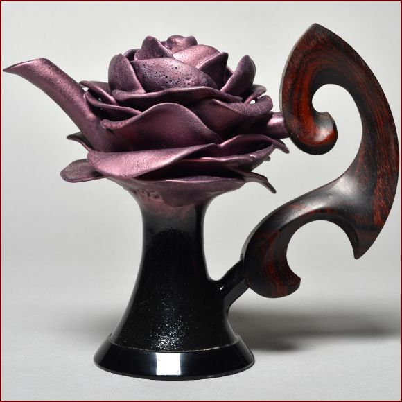 Full Blossomed Rose Teapot #798, 2012 by Artist Donald Frith