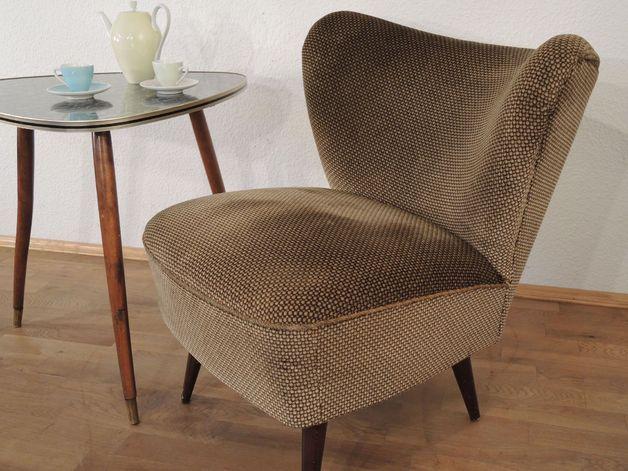 50er, 60er Jahre Coktail Sessel Samt // Vintage Chair By LOFT 43 Via DaWanda