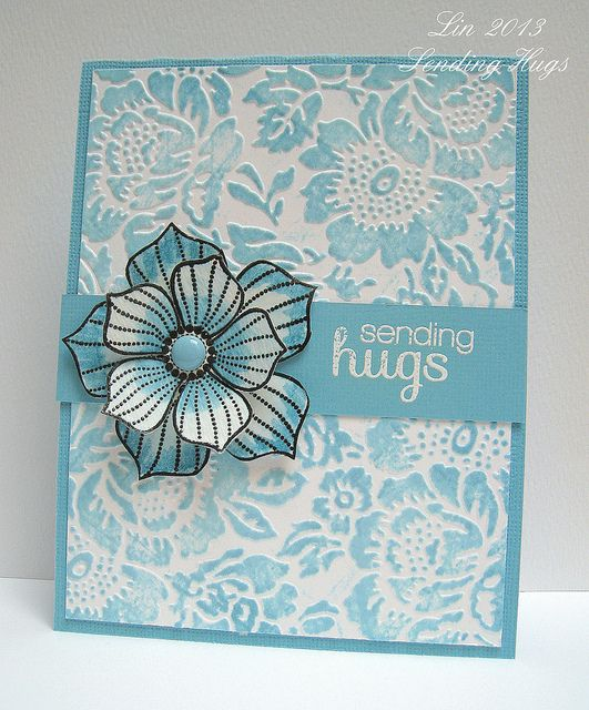 handmbade card .... monochromatic aqua ... layered flower ... luv the embossing folder texture by Anna Griffith ...  color added after embossing by pouncing the ink pad lightly across the surface ... gorgeous ...