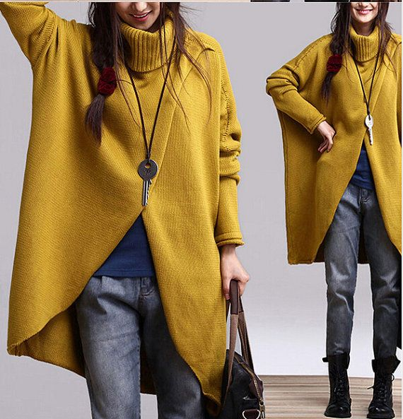 Hello,dear friends.Thank you so much for visiting our shop!    Yellow long sleeved warm sweater dress knitwear hoodie casual topcoat [Model size]