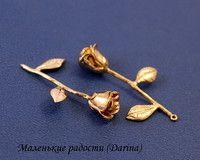 Подвеска, роза, золотистый, родиевое покрытие, 40х24 мм-180р