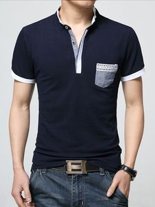 Camisa de Polo de algodón Chic bolsillos azul marino camisa Polo para hombres