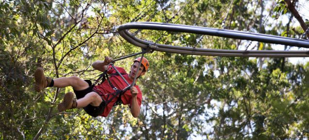 Located just north of Sydney in the Ourimbah State Forest, the one-kilometer run (0.62-miles) is the longest continuous zip line ride in the world, and it takes riders about five minutes to work their way from the beginning to the end.