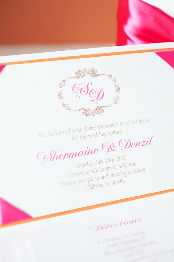 Stationery, orange and hot pink wedding.  Wedding planner @Carmen Yee Luk