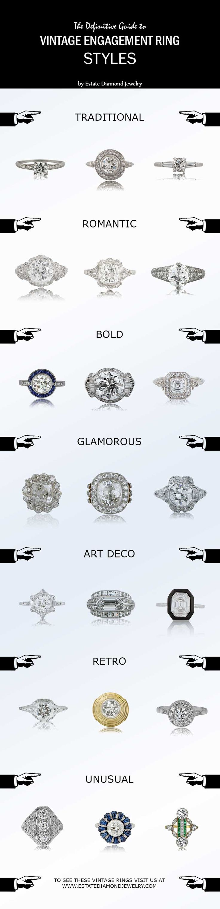 The definitive guide for vintage engagement ring styles. What type of person are you? What's your favorite ring?