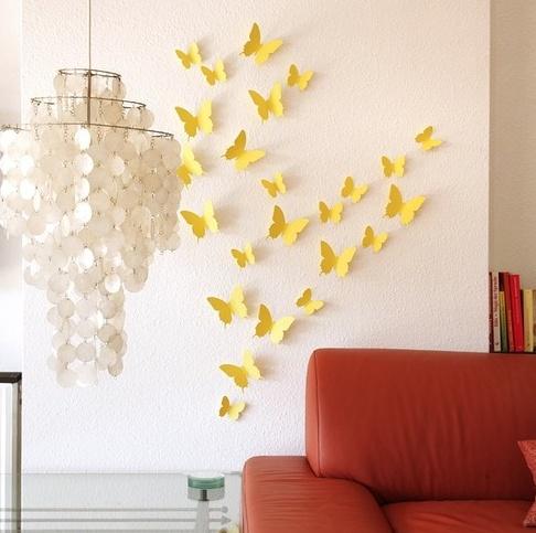 Elegant Schmetterlinge D Wandtattoos Wei Wanddeko Wanddekoration Wandtattoo Deko