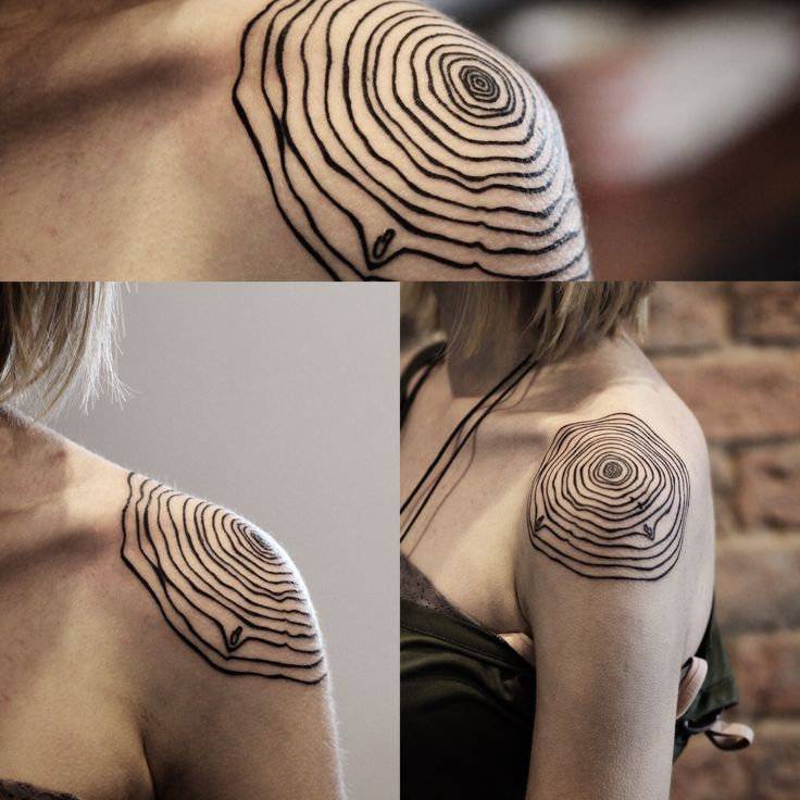 Fun tree ring tattoo from today on Cat #shouldertattoo #onlyblacktattoos…                                                                                                                                                                                 More