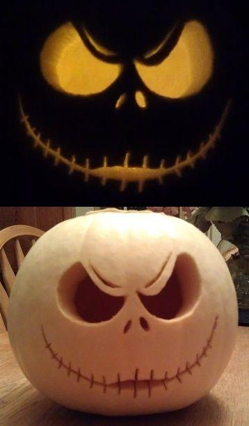 Halloween carving – I bought a white pumpkin & carved Jack Skellington 2012 – ja…