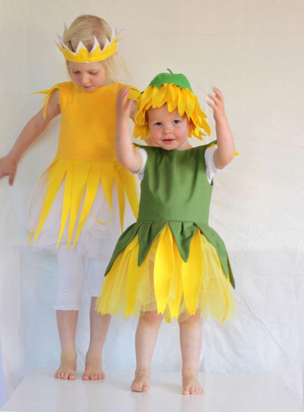Kinderkostüm, Sonnenblume, Fasching oder Halloween / cute costume for children, sunflower, carneval, halloween by Ida Elfe via DaWanda.com