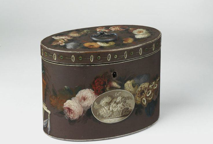 Tea caddy, 1780-1800, Wood with painted decoration and metal handle. Given by Thomas Sutton, Esq. l Victoria and Albert Museum