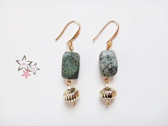 Hydra Earrings / African Turquoise Gemstone / Gold by Twininas