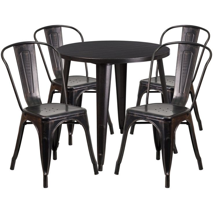 iHome Nicollet Round 30'' Black-Antique Gold Metal Indoor-Outdoor Table Set w/4 Cafe Chairs for Restaurant/Bar/Pub/Patio, Black, Size 5-Piece Sets, Patio Furniture (Iron)