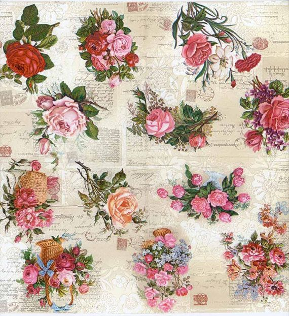 4 X Single Paper party Napkins for Decoupage Art And Craft Flower Composition