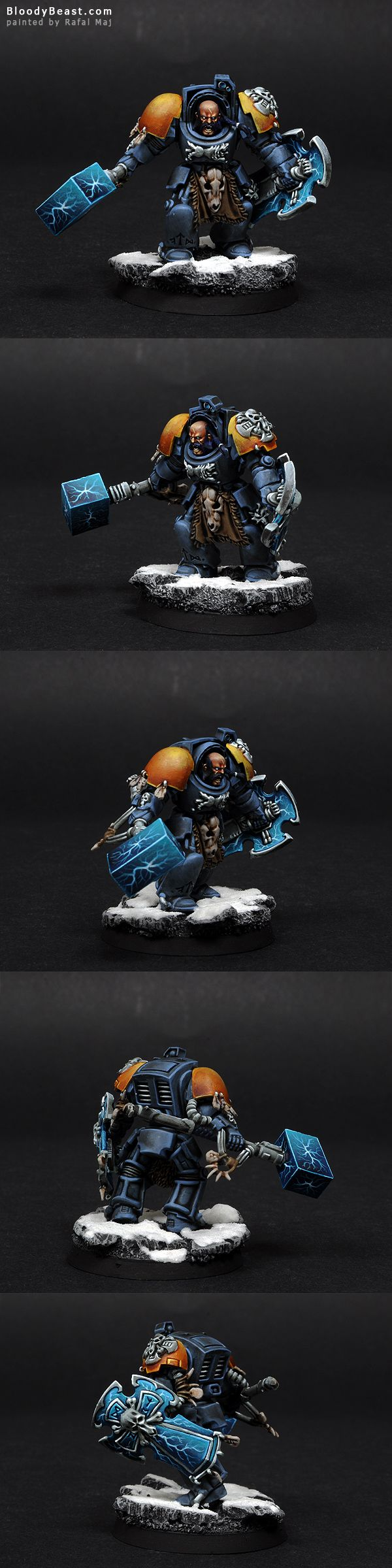Ah, some Space Wolves again. I love this army. What I really like about my Arjacs conversions is this huge hammer and massive shield. This is how Arjac should look like. Nareszcie trochę Space Wolf...