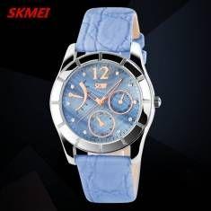 SKMEI 6911 Elegant Crystal Leather Band Waterproof Wrist Watch