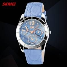 SKMEI 6911 Elegant Crystal Leather Band Waterproof Wrist Watch
