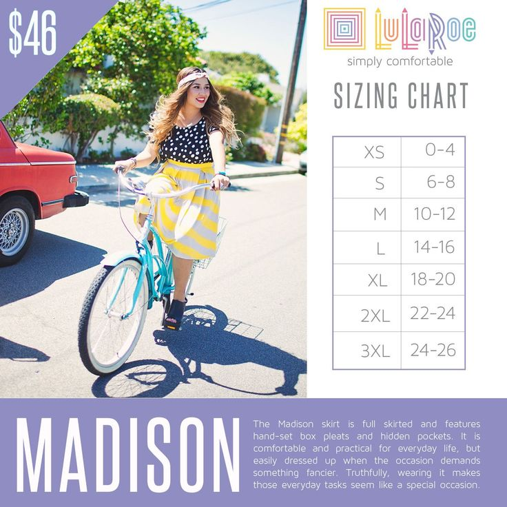 LuLaRoe Madison Sizing Chart and Price Lularoe Size