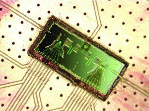 Researchers have built a rice grain-sized microwave laser, or 'maser,' powered by single electrons that demonstrates the fundamental interactions between light and moving electrons. It is a major step toward building quantum-computing systems out of semiconductor materials.