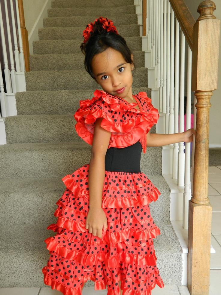 Spanish  Flamenco Dancer Costume For Girls Sizes 6-10 -6195