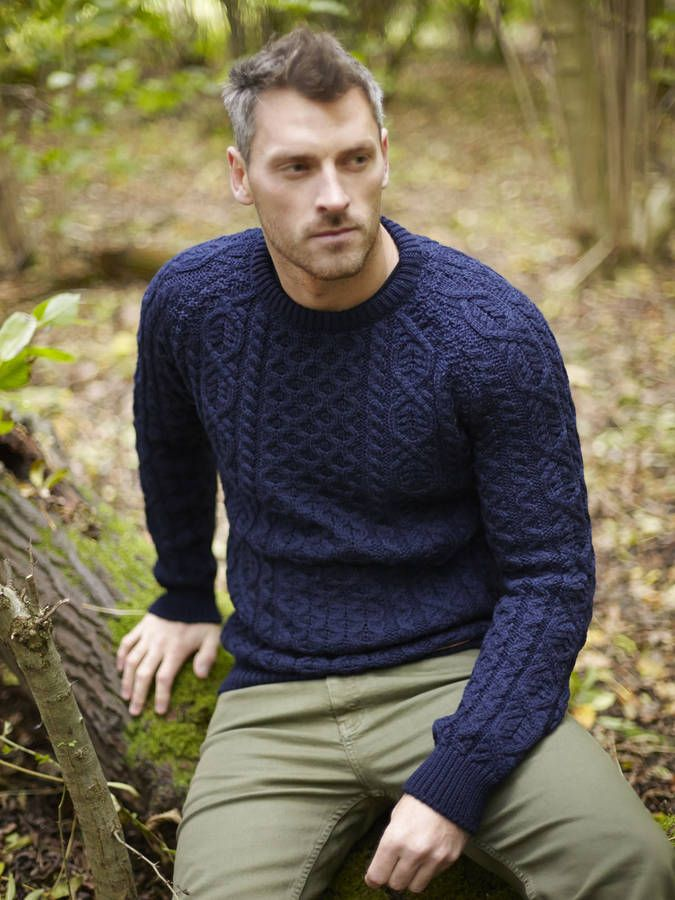 men's merino wool crew neck aran jumper by liv - organic & sustainable living | notonthehighstreet.com