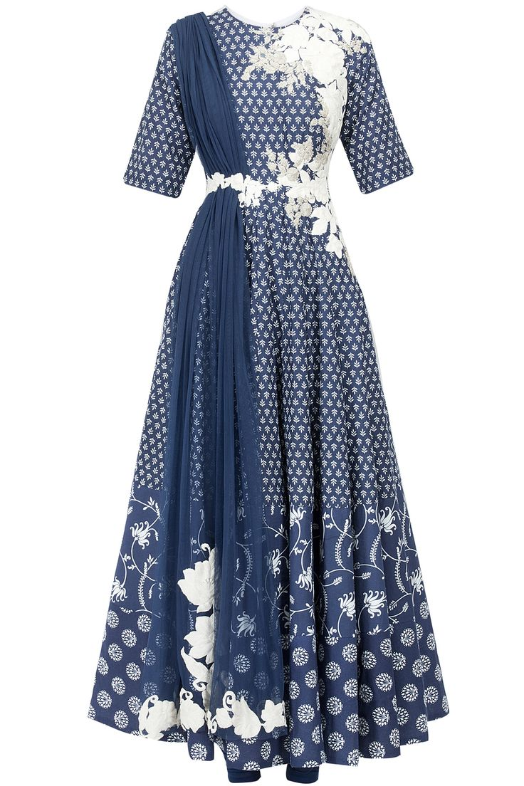 Printed floral embroidered anarkali with attached dupatta available only at Pernia's Pop-Up Shop.