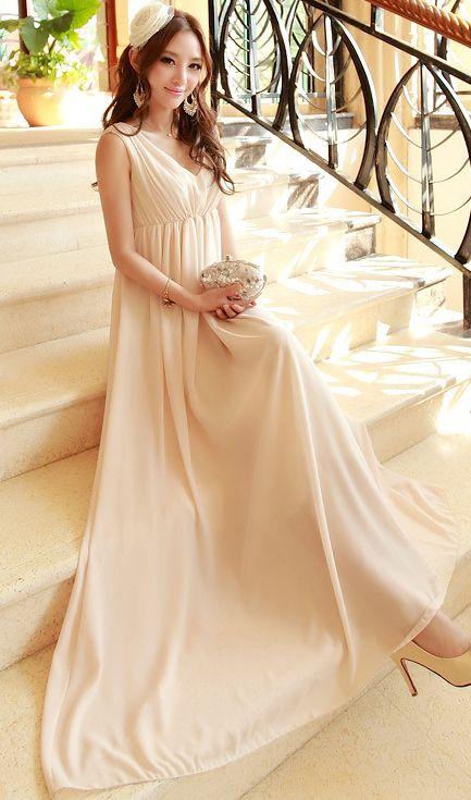 Cute Cheap V neck pleated beach dress beige - Beach Dresses Online Shopping Free Shipping AHAI014838
