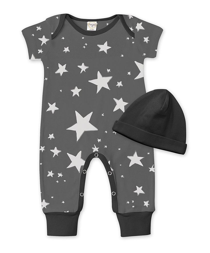 Take a look at this Black Starlight Playsuit & Beanie - Infant today!
