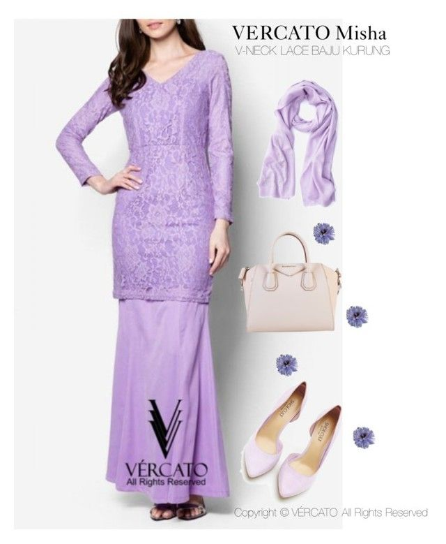 """VERCATO Misha Baju Kurung Moden"" in purple and also available in navy blue.  SHOP NOW:  http://www.vercato.com/baju-kurung-lace-v-neck-vercato-misha-purple"