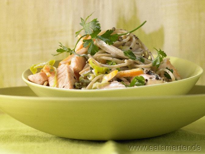 Rezept: Spaghetti mit Lachs in Zitronensauce    Zutaten für 2 Portionen:   150 g Lachsfilet (ohne Haut)  1 dünne Stange Lauch (ca. 100 g)    2 kleine Möhren (ca. 100 g)    150 g Vollkorn-Spaghetti  Salz  ½ Bio-Zitrone  2 Stiele Petersilie  2 EL Olivenöl  Pfeffer  100 ml trockener Weißwein oder Fischfond  150 ml Sojacreme    http://eatsmarter.de/rezepte/spaghetti-lachs/