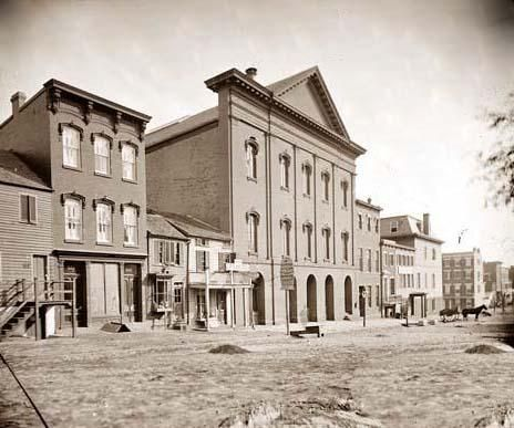 Ford's Theater - a rare photograph of Ford's Theatre, Washington., D.C. It was created between 1860 and 1865 by Mathew Brady.The photograph illustrates location where Abraham Lincoln was shot in 1865, showing what the area looked like at the time of the assassination.