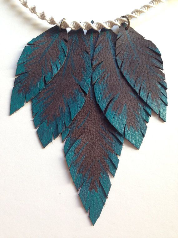 Necklace Turquoise Up Cycled Leather Feather Bib by ElicasArt, $16.50