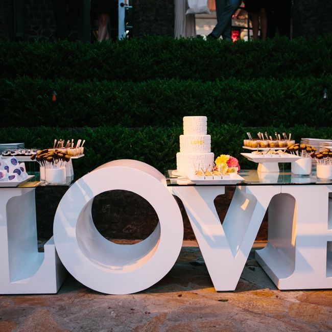 LOVE this Dessert Table // Heather Kincaid Photography // http://www.theknot.com/weddings/album/a-cheerful-outdoor-wedding-in-malibu-ca-136369