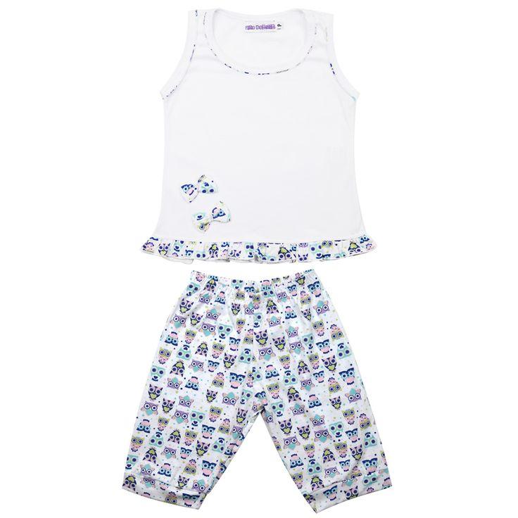 Pijama infantil feminino. Calça pescador e blusinha regata.